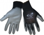 Economy Gray PU Black Gloves (12 pair)